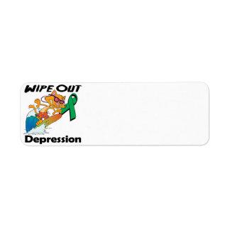 Limpie hacia fuera la depresión etiqueta de remite