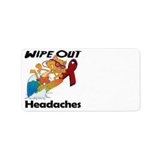 Limpie hacia fuera los dolores de cabeza etiqueta de dirección