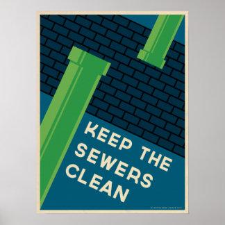 Limpie la alcantarilla póster
