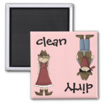 Limpie la vaquera o el imán sucio del lavaplatos d