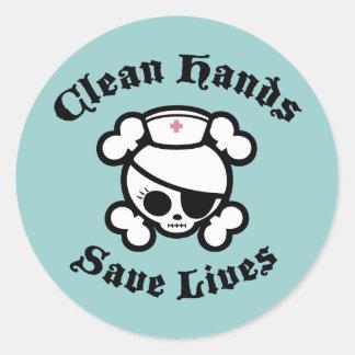 Limpie las manos pegatina redonda
