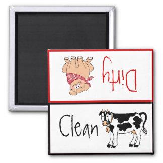 Limpie/lavaplatos sucio de la cocina del país imanes para frigoríficos