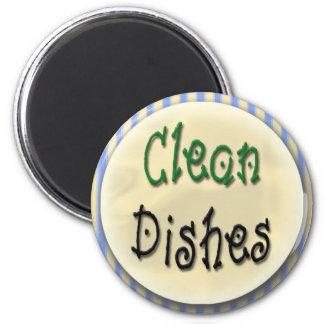 Limpie los platos imán redondo 5 cm