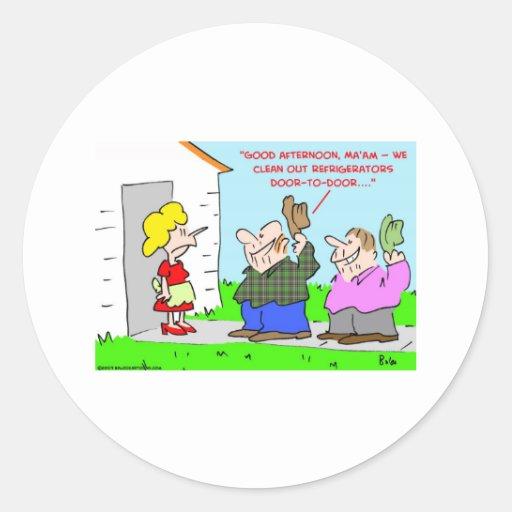 limpie los refrigeradores a domicilio pegatina redonda