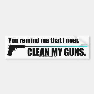 Limpie mis armas pegatina de parachoque