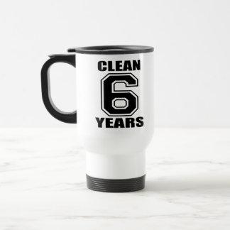 limpie seis años de negro taza de viaje