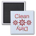 Limpie/sucio (el estampado de flores) imán para frigorífico