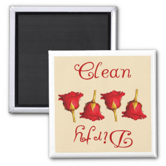 Limpie/sucio (los rosas rojos) imanes de nevera