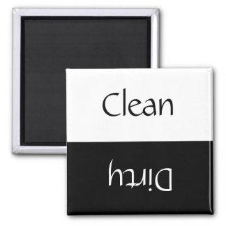 Limpie sucio (negro y el blanco) imán cuadrado