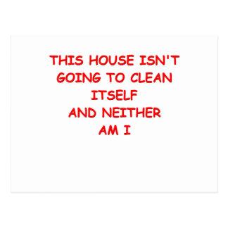 limpieza de la casa tarjeta postal