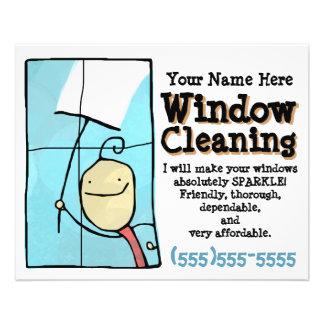 """Limpieza de ventana. Aviador promocional de las Folleto 4.5"""" X 5.6"""""""