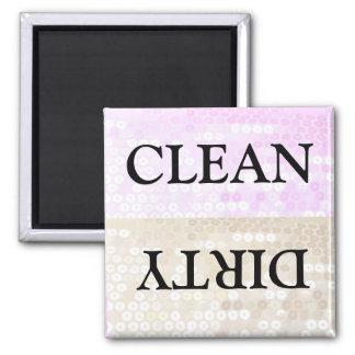 Limpio y sucio imán cuadrado