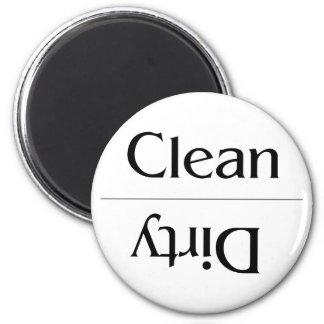 Limpio y sucio--Llano y simple Imán Redondo 5 Cm