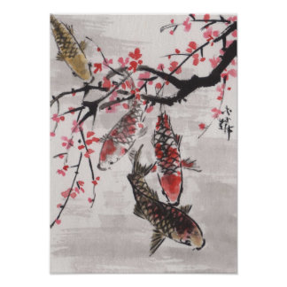 Lin Li s Art Chinese Watercolor KOI Plum Blossoms Poster