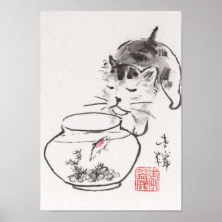 Lin Li's Art Print: Cat and Godfish Poster