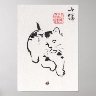 Lin Li's Art Print: Cat and Ladybug Poster
