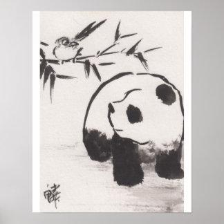 Lin Li's Art Print Panda and Bird 13090105