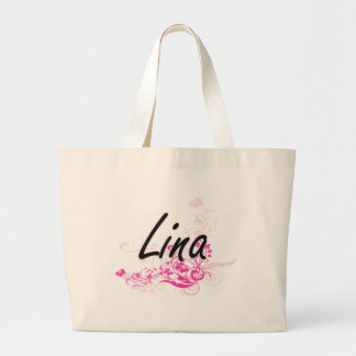 Lina Artistic Name Design with Flowers Jumbo Tote Bag