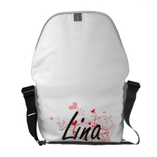 Lina Artistic Name Design with Hearts Courier Bags