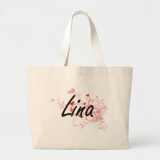 Lina Artistic Name Design with Hearts Jumbo Tote Bag