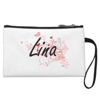 Lina Artistic Name Design with Hearts Wristlet