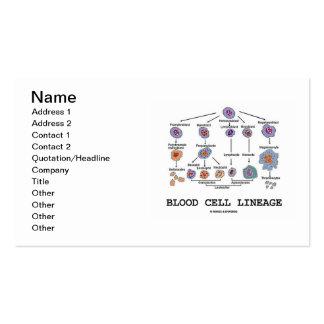 Linaje del glóbulo (hematología) tarjetas de visita