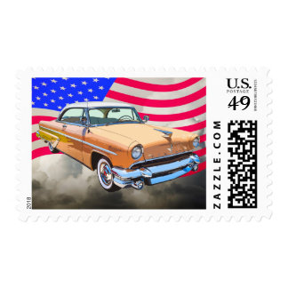 Lincoln 1955 Capri con la bandera americana Franqueo