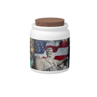 Lincoln and Fireworks Candy Dishes