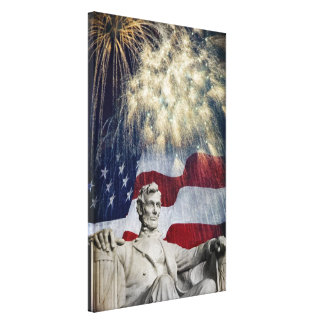 Lincoln and Fireworks Canvas Print