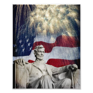 Lincoln and Fireworks Photographic Print