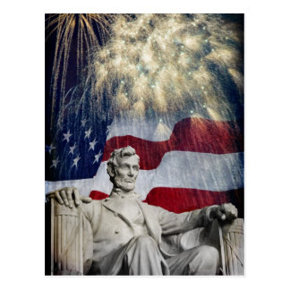 Lincoln and Fireworks Postcard