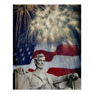 Lincoln and Fireworks Poster