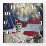 Lincoln and Fireworks Square Wall Clock