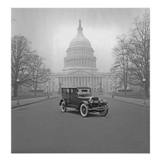 Lincoln at the White House 1922 BW Print