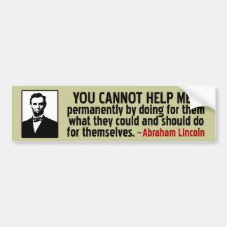 Lincoln: Ayuda usted mismo Etiqueta De Parachoque