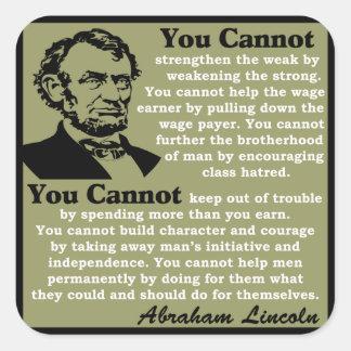 Lincoln: ¡Ayuda usted mismo! Pegatina Cuadrada