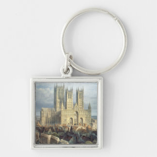 Lincoln Cathedral from the North West, c.1850 Silver-Colored Square Keychain