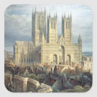 Lincoln Cathedral from the North West, c.1850 Square Sticker
