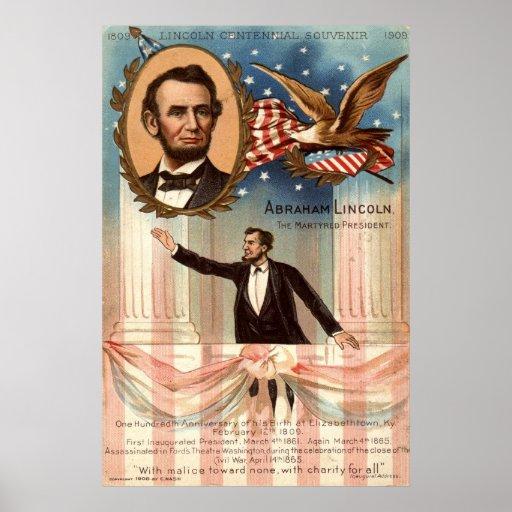 Lincoln Centennial Souvenir, 1908 Vintage Poster