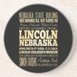 Lincoln City of Nebraska Typography Art Coasters