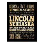 Lincoln City of Nebraska Typography Art Postcard