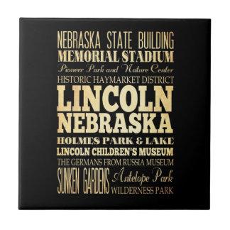 Lincoln City of Nebraska Typography Art Tiles