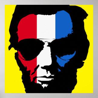 Lincoln con las gafas de sol tipo aviador - azul póster