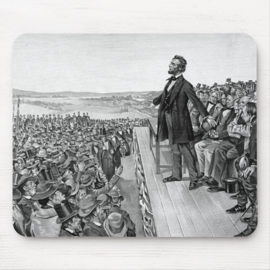 Lincoln Delivering The Gettysburg Address B&W Mouse Pad