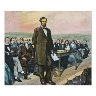 Lincoln delivering the Gettysburg Address Vintage Poster