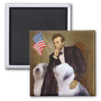 Lincoln - dos perros pastor ingleses viejos iman de nevera