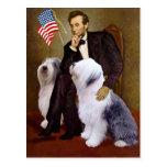 Lincoln - dos perros pastor ingleses viejos tarjetas postales