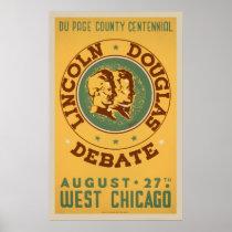 Lincoln Douglas Debate Vintage WPA Poster