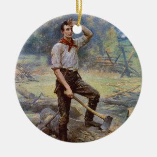 Lincoln el divisor del carril de Jean L. Gerome Adorno Navideño Redondo De Cerámica