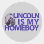 Lincoln es mi Homeboy Pegatina Redonda
